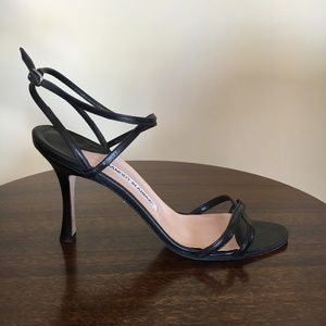 Manolo Blahnik Black Strappy Heels Sandals